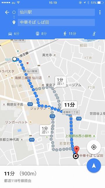 仙川からしば田までのマップ